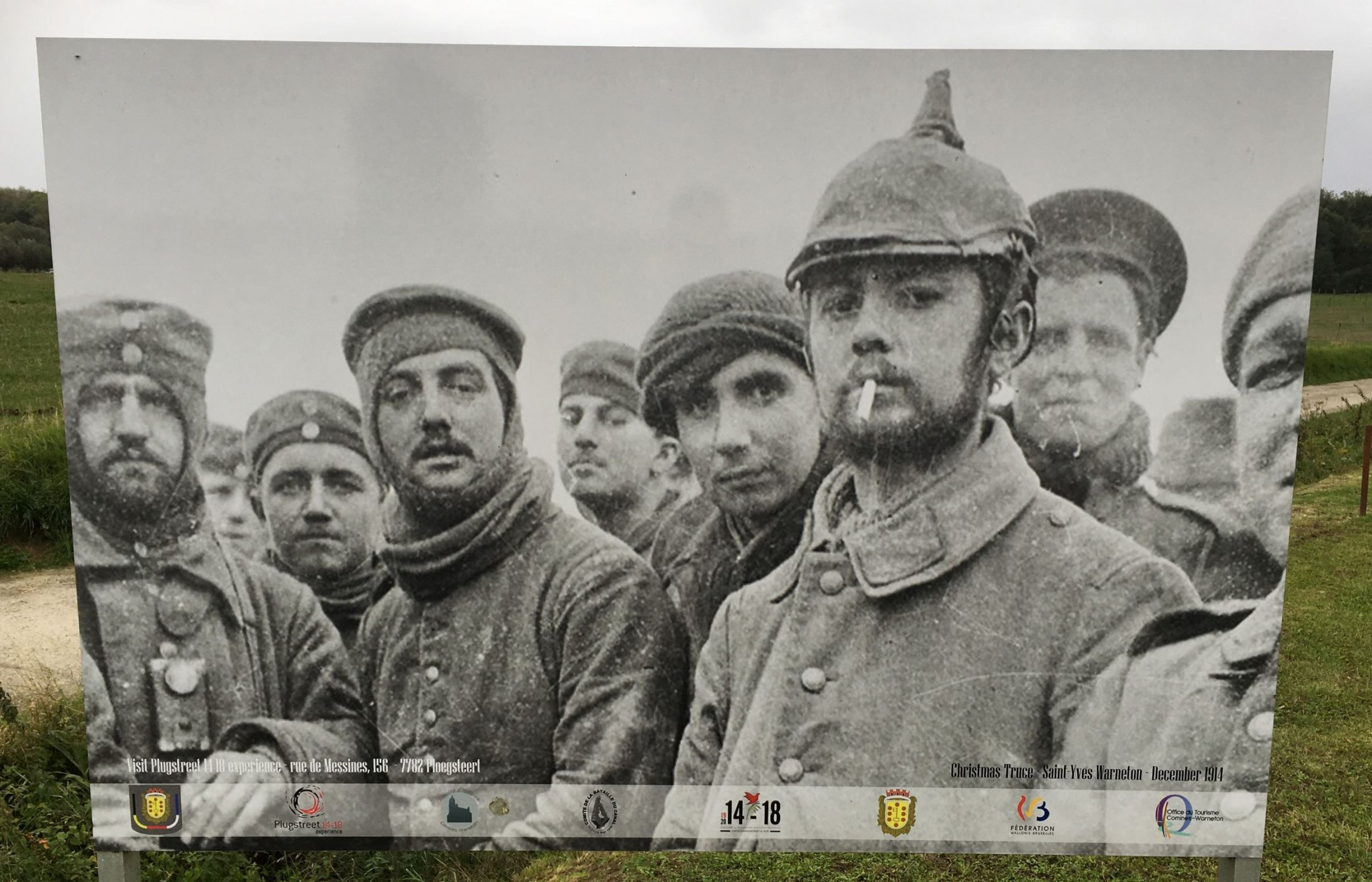 Christmas Truce Picture in the field near the EUFA memorial