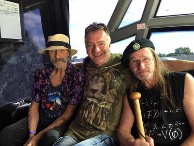 Steve on the Hawkwind Tour Bus 2017